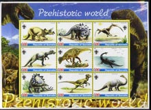 Somalia 2005 Dinosaurs perf sheetlet containing 9 values unmounted mint