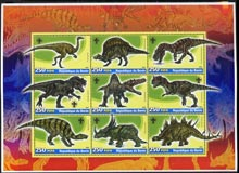 Benin 2005 Dinosaurs perf sheetlet containing 9 values unmounted mint