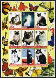 Congo 2005 Domestic Cats perf sheetlet containing 9 values unmounted mint
