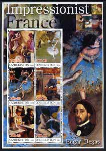 Uzbekistan 2001 Impressionist France - Edgar Degas large perf sheetlet containing 6 values unmounted mint