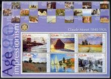 Uzbekistan 2002 Age of Impressionism - Claude Monet large perf sheetlet containing 6 values unmounted mint