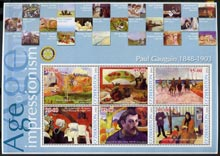 Uzbekistan 2002 Age of Impressionism - Paul Gauguin large perf sheetlet containing 6 values unmounted mint