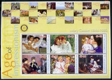 Uzbekistan 2002 Age of Impressionism - Mary Cassatt large perf sheetlet containing 6 values unmounted mint
