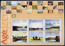 Uzbekistan 2002 Age of Impressionism - Eugene Boudin large perf sheetlet containing 6 values unmounted mint