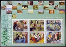 Uzbekistan 2002 Age of Impressionism - Edgar Degas large perf sheetlet containing 6 values unmounted mint