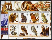 Iraqi Kurdistan Region 2005 Owls large perf sheetlet containing 8 values each with Scout Logo & 100th Anniversary imprint in margin, unmounted mint