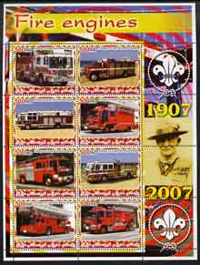 Iraqi Kurdistan Region 2005 Fire Engines #1 large perf sheetlet containing 8 values with Baden Powell & Scout Logo in margin, unmounted mint