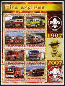 Iraqi Kurdistan Region 2005 Fire Engines #2 large perf sheetlet containing 8 values with Baden Powell & Scout Logo in margin, unmounted mint