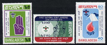 Bangladesh 1978 Scout Jamboree set of 3 unmounted mint, SG 107-09