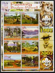 Iraqi Kurdistan Region 2005 Paintings of Baden Powell large perf sheetlet containing 8 values unmounted mint