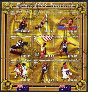 Mozambique 2001 Sydney Olympics perf sheetlet #2 containing 9 values fine cto used (Swimming, Pole Vault, Equestrian, Tennis, Running & Football)