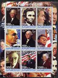 Somaliland 2001 Millennium series - US Presidents perf sheetlet containing 9 values unmounted mint