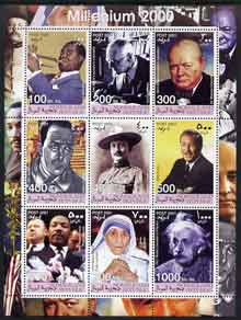 Somaliland 2001 Millennium series - Personalities perf sheetlet containing 9 values unmounted mint (Satchmo, H Hesse, Churchill, Baden Powell, Camus, W Disney, Martin Luther King, Mother Teresa & Albert Einstein)