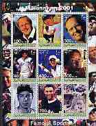 Somaliland 2001 Millennium series - Famous Sports Stars perf sheetlet containing 9 values unmounted mint (Golf, Tennis & Baseball)