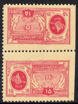 Afghanistan 1928 9th Anniversary 10p rosine (King's Crest) in unmounted mint tete-beche pair, SG 191a