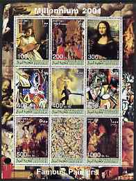 Somaliland 2001 Millennium series - Famous Paintings perf sheetlet containing 9 values unmounted mint
