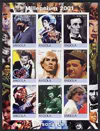 Angola 2001 Millennium series - Personalities (Satchmo, Baden Powell, J Gleason, Bruce Lee, Lincoln, Lucille Ball, Warhol, Babe Ruth & Diana) imperf sheetlet of 9 values unmounted mint