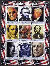 Angola 2001 Millennium series - US Presidents perf sheetlet of 9 values unmounted mint