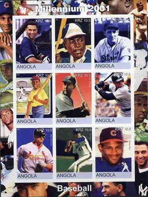 Angola 2001 Millennium series - Baseball Stars imperf sheetlet of 9 values unmounted mint