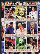 Tadjikistan 2000 Millennium series - Icons (Elvis, Marilyn, N Armstrong, Tiger Woods, Sinatra, Clinton, Bruce Lee, Einstein, The Pope & Diana) perf sheetlet of 9 values unmounted mint with Scout Logos in margin