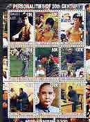 Myanmar 2000 Millennium series - Personalities (Bruce Lee, Tiger Woods, Sun Yat Sen & Mao) perf sheetlet of 9 values unmounted mint