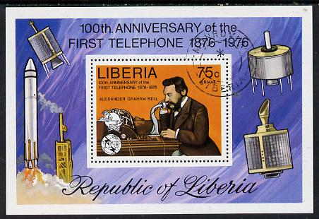 Liberia 1976 Telephone Centenary m/sheet fine cto used, SG MS 1283