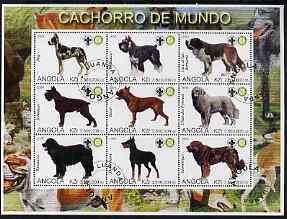 Angola 2000 Dogs perf sheetlet containing set of 9 values each with Rotary & Scouts Logos, fine cto used