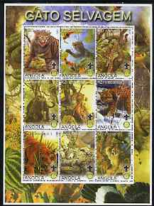 Angola 2000 Big Cats perf sheetlet containing set of 9 values (vert format) each with Rotary & Scouts Logos, fine cto used