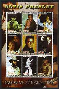 Turkmenistan 2001 Icons of the 20th Century - Elvis Presley perf sheetlet containing set of 9 values cto used