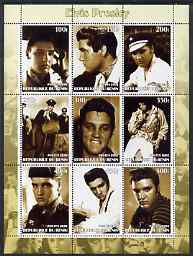 Benin 2002 Elvis Presley perf sheet containing set of 9 values unmounted mint