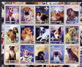 Benin 2002 Paintings of Dogs perf sheet containing set of 15 values each with Scouts Logo, unmounted mint
