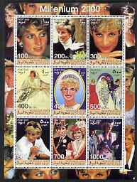 Somaliland 2001 Millennium series - Princess Diana perf sheetlet containing 9 values unmounted mint