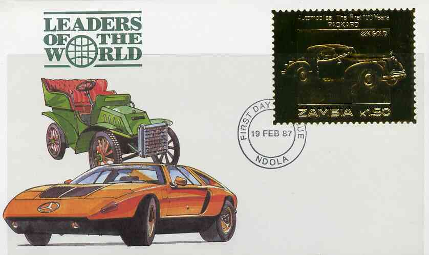 Zambia 1987 Classic Cars 1k50 Packard in 22k gold foil on cover with first day of issue cancel, limited edition and very elusive