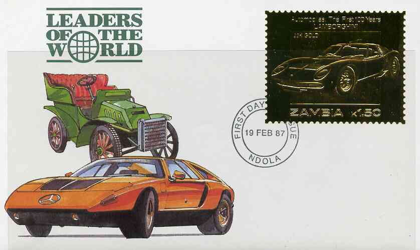 Zambia 1987 Classic Cars 1k50 Lamborghini in 22k gold foil on cover with first day of issue cancel, limited edition and very elusive