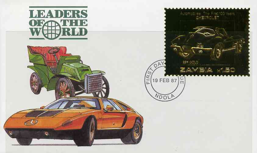Zambia 1987 Classic Cars 1k50 Chevrolet in 22k gold foil on cover with first day of issue cancel, limited edition and very elusive