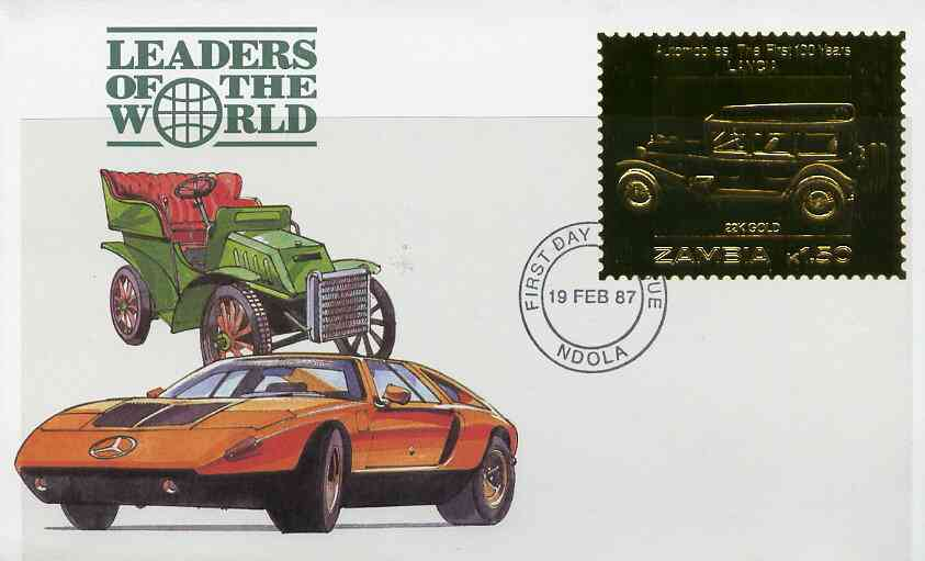 Zambia 1987 Classic Cars 1k50 Lancia in 22k gold foil on cover with first day of issue cancel, limited edition and very elusive