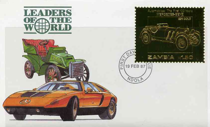 Zambia 1987 Classic Cars 1k50 Mercedes-Benz in 22k gold foil on cover with first day of issue cancel, limited edition and very elusive