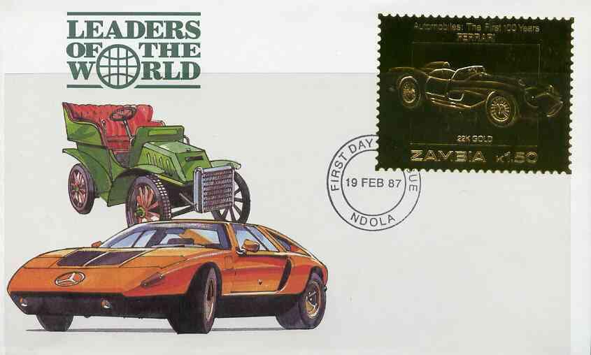 Zambia 1987 Classic Cars 1k50 Ferrari in 22k gold foil on cover with first day of issue cancel, limited edition and very elusive