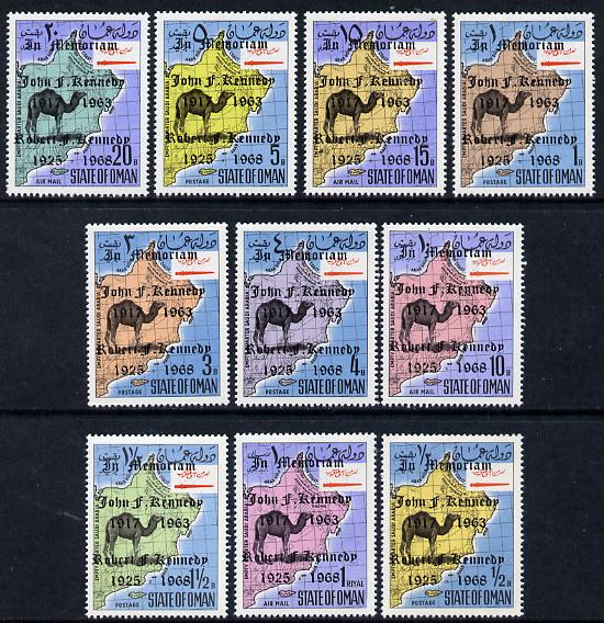 Oman 1967 Camel & Map set of 10 each with Kennedy Memorium opts unmounted mint*