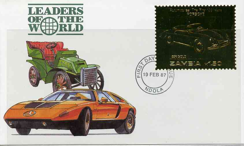 Zambia 1987 Classic Cars 1k50 Porsche in 22k gold foil on cover with first day of issue cancel, limited edition and very elusive