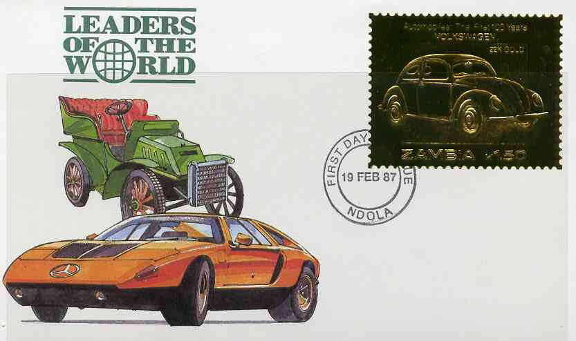 Zambia 1987 Classic Cars 1k50 Volkswagan in 22k gold foil on cover with first day of issue cancel, limited edition and very elusive