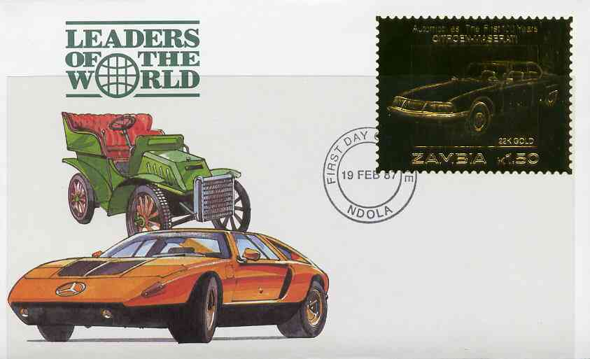 Zambia 1987 Classic Cars 1k50 Citroen-Maserati in 22k gold foil on cover with first day of issue cancel, limited edition and very elusive, stamps on