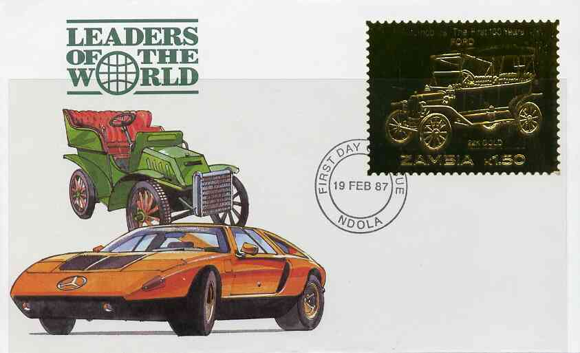 Zambia 1987 Classic Cars 1k50 Ford in 22k gold foil on cover with first day of issue cancel, limited edition and very elusive