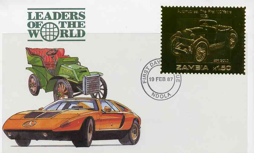 Zambia 1987 Classic Cars 1k50 MG in 22k gold foil on cover with first day of issue cancel, limited edition and very elusive