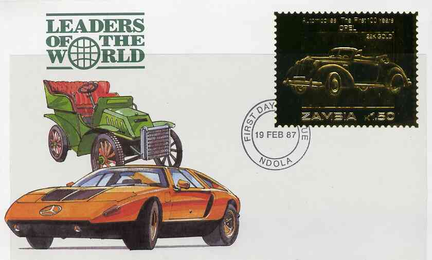 Zambia 1987 Classic Cars 1k50 Opel in 22k gold foil on cover with first day of issue cancel, limited edition and very elusive