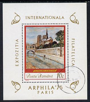 Rumania 1975 'Arphila 75' Stamp Exhibition (Painting by Th Pallady) m/sheet cto used SG MS 4142