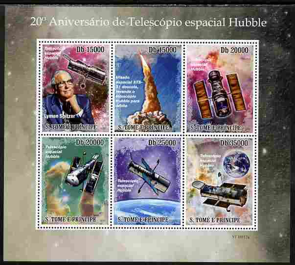 St Thomas & Prince Islands 2010 20th Anniversary of Hubble Telescope perf sheetlet containing 6 values unmounted mint , stamps on personalities, stamps on space, stamps on telescopes, stamps on satellites