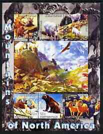 Kyrgyzstan 2004 Fauna of the World - Mountains of North America perf sheetlet containing 6 values unmounted mint