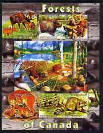 Kyrgyzstan 2004 Fauna of the World - Forests of Canada perf sheetlet containing 6 values unmounted mint