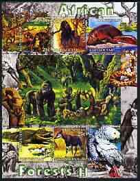 Kyrgyzstan 2004 Fauna of the World - African Forests #2 perf sheetlet containing 6 values unmounted mint